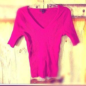 💗 WORTHINGTON L/ pink short sleeve sweater